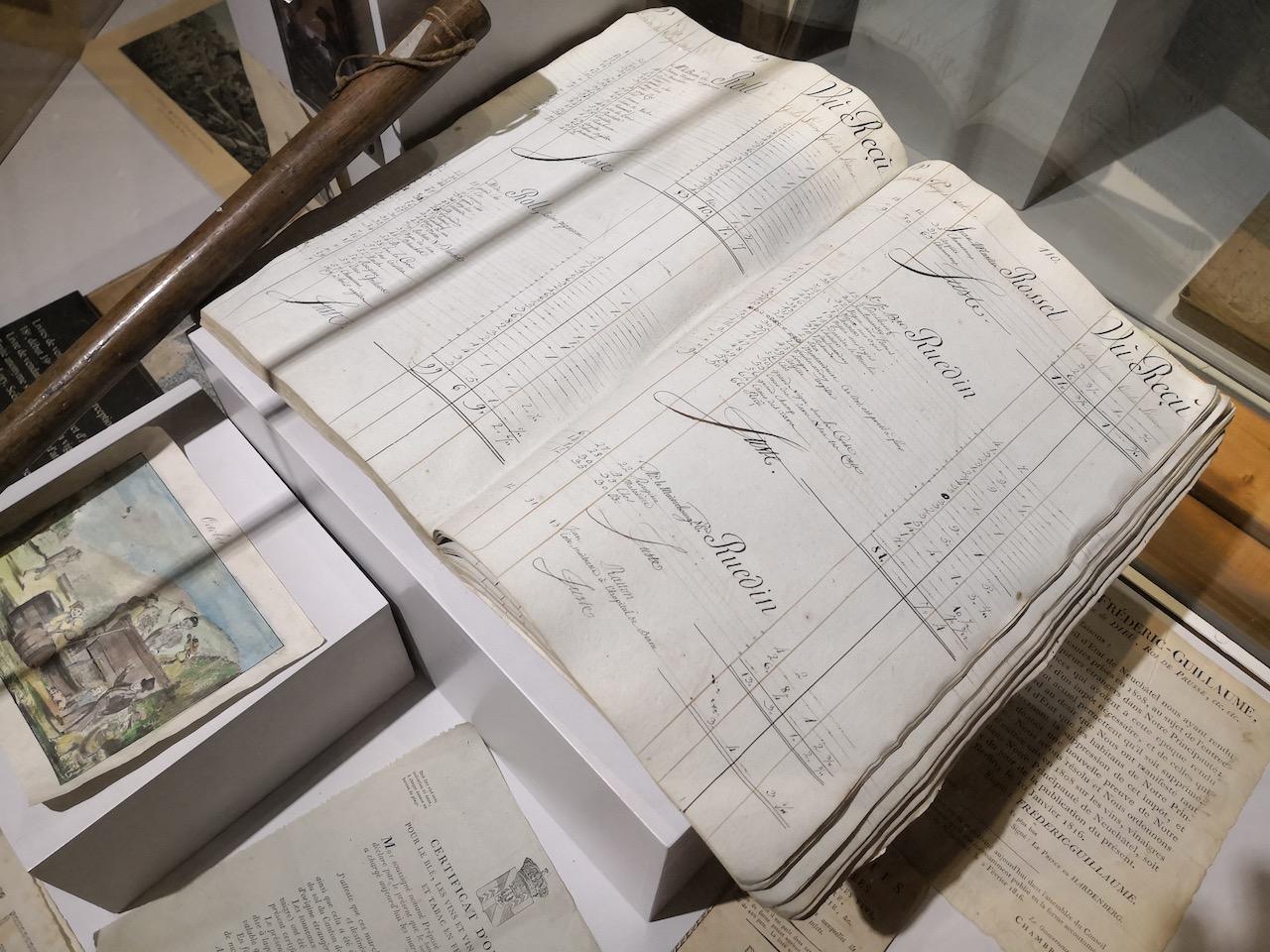 altes Buch mit Ablieferungen von Trauben