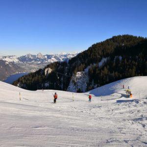 Skifahrer am Tellerlift