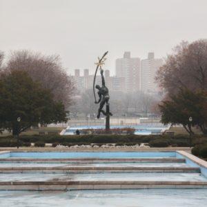 Flushing Meadows Park mit Blick auf Statue