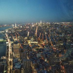 Blick auf Manhattan bei blauer Stunde vom One World Observatory