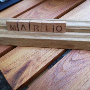 Reservationsschild mit Mario's Vorname im Strickers