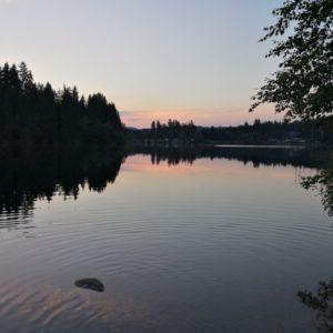 Abendstimmung am See am Eindunklen links und rechts mit Baeumen gesaeumt