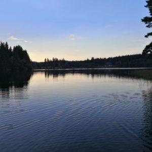Windgfaellweiher am Abend bei blauem Himmel und letzten Sonenstrahlen