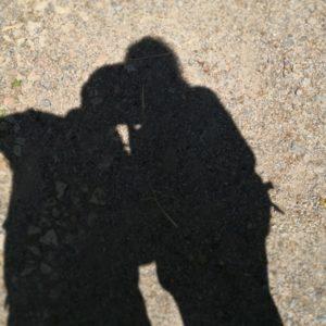 Selfie des Schattens am Boden von Alex und Mario