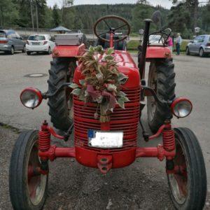 roter Traktor mit Blumen von vorne