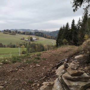 Blick in die Weiten mit Wanderweg im Vordergrund