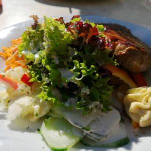 Rindssteak mit Salaten garniert